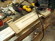 The truss rod routing sled in action